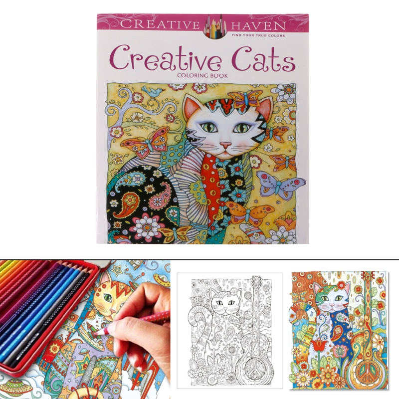 24 Pages Coloring Books For Kids Creative Cat Coloring Book Kill Time Painting Drawing Book