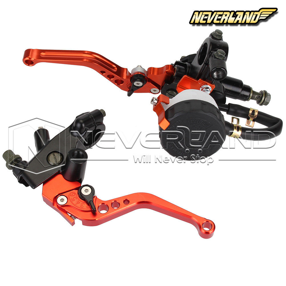 Adjustable 7/8 22mm Orange Motorcycle Brake Clutch Master Cylinder Reservoir Levers Set For Honda Suzuki Kawasaki Yamaha D25 universal 7 8 22mm gold motorcycle brake clutch master cylinder reservoir levers set for honda suzuki kawasaki yamaha d25