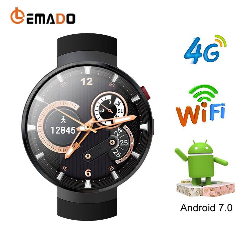 LEMADO LEM7 4g Montre Smart Watch Android 7.0 Smartwatch Téléphone SIM Coeur Taux 1 gb + 16 gb Mémoire avec smart Camera Traduction outil