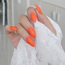 2019 24 pièces couleur unie doigt pointu faux ongles. mode doit être orange  frais C442