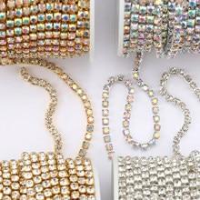 1 stocznia 10 jardów/rolka SS6-SS16 świecące kryształy łańcuszek z kryształów górskich przyszyć klej na ubrania do ubrania DIY akcesoria wykończenia łańcuszka