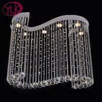 Затемнения Современные хрустальная люстра для Обеденная Творческий Дизайн бар Кофе подвесные Кристалл светодиодный люстры де Cristal