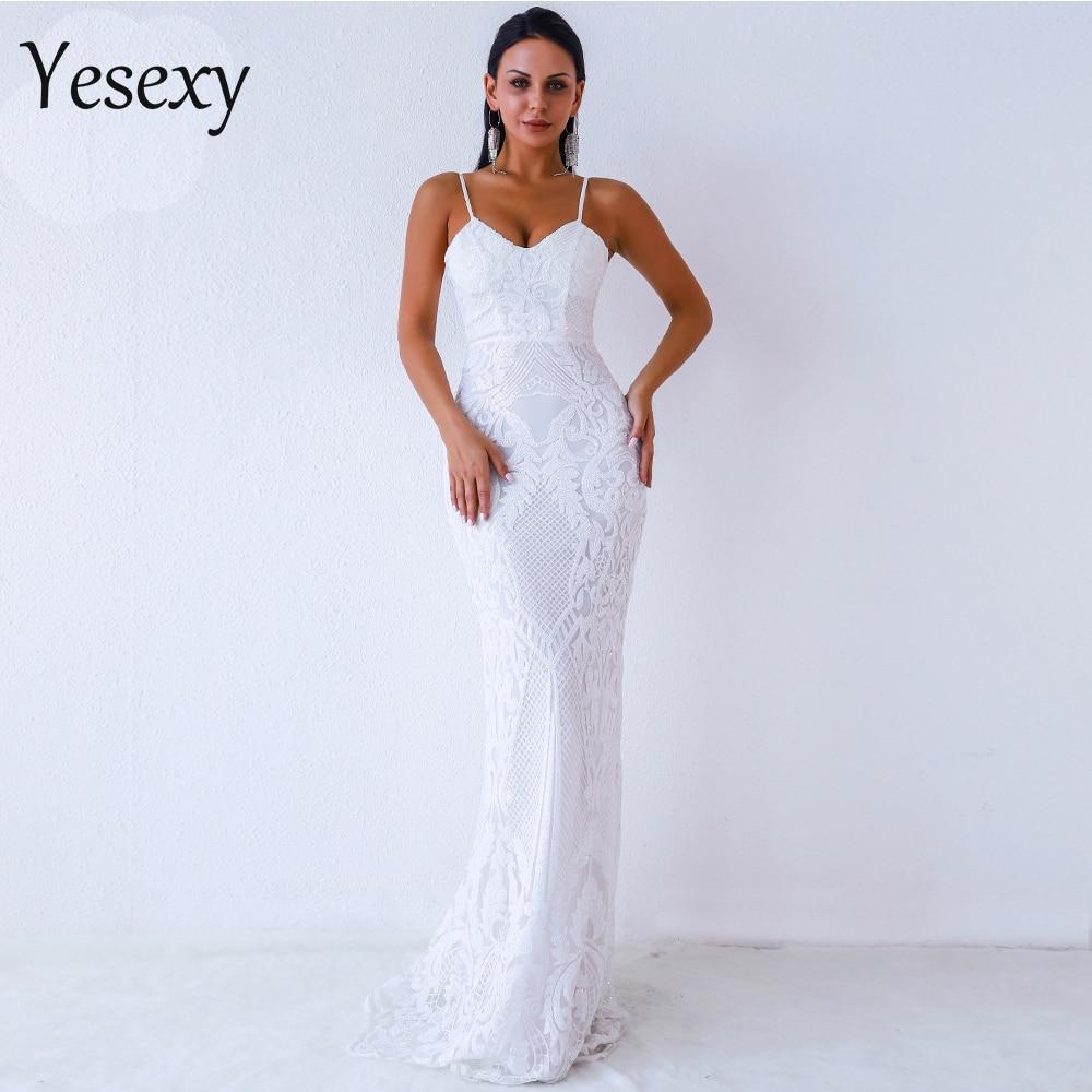 Yesexy 2019 Women Sexy V Neck Off Shoulder Backless Sleeveless Sequin Dresses Female Elegant Party Maxi Dress Vestdios VR9370