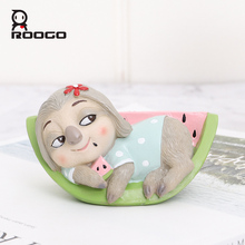 Roogo Sloth Happy Daily Life Home Decoration Accessories Resin Animal Figurine Anime Figure Gift For Children Family Ornaments roogo sweet wedding home decoration accessories resin bridegroom and bride figurine gift for couple family desktop ornament