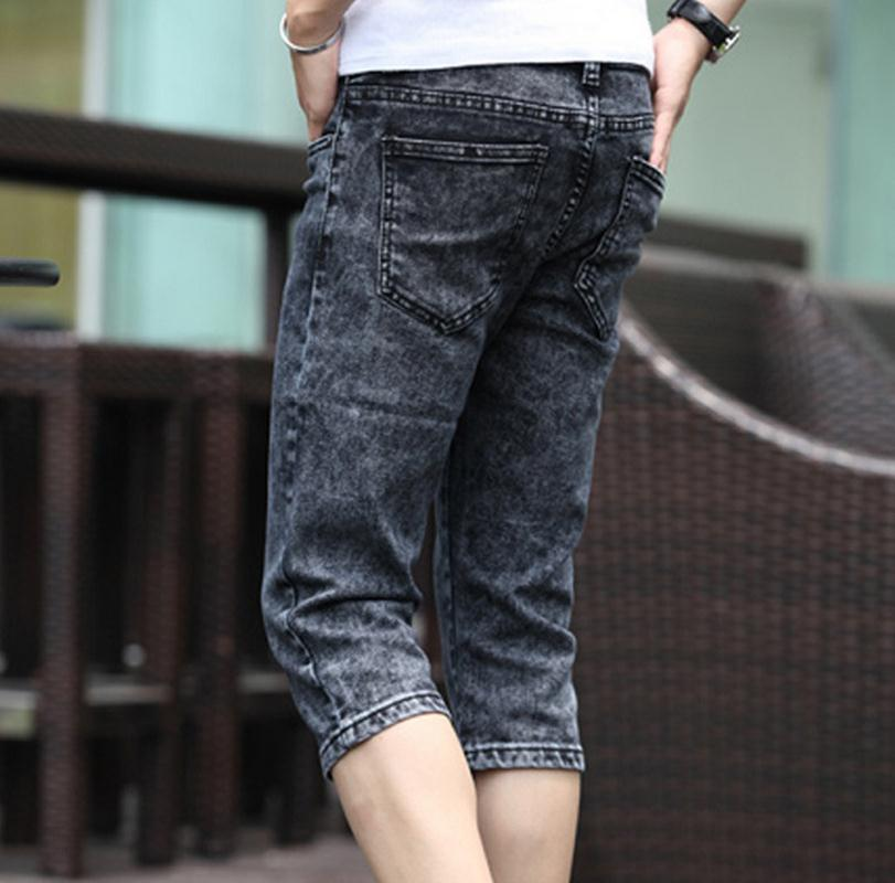 Summer 2017 Fashion Men Jeans Grey Slim Fit Capric Calf Length Teenagers Boys Hip Hop Jeans homme 28 34 in Jeans from Men 39 s Clothing