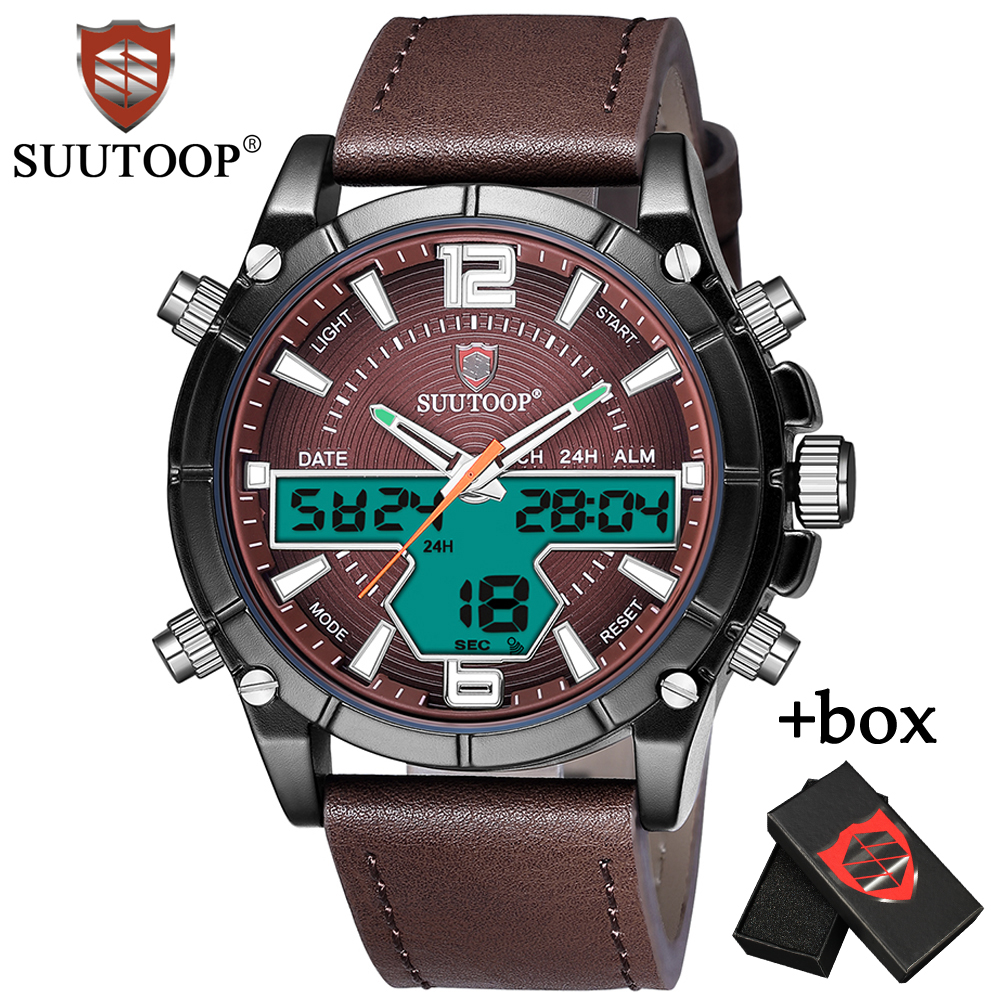 New Luxury Fashion Dual Display SUUTOOP Sport Watches Men Quartz Analog LED Digital Clock Leather Wrist Watch Relogio Masculino splendid brand new boys girls students time clock electronic digital lcd wrist sport watch