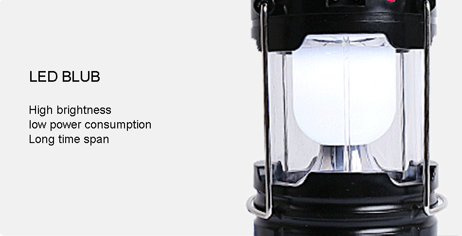 Portable Led Flashlight Solar Camping Lantern 6LEDs Rechargeable Emergency Hand Lamp Tent Light Collapsible For Outdoor Lighting (9)