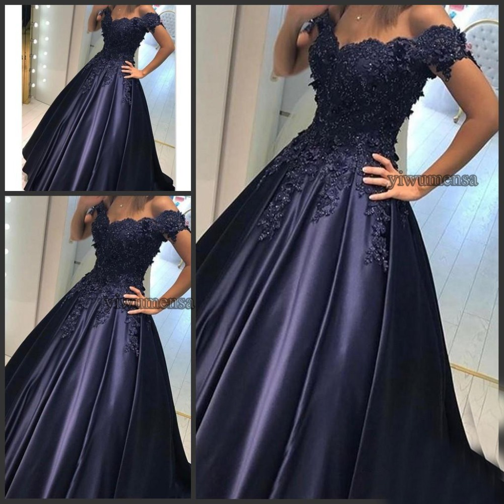 Vestidos Largos De Fiesta Navy Blue Off The Shoulder Lace A line   Prom     Dresses   2018 Abendkleider Modern Evening Party   Dress