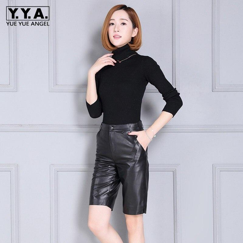 Genuine Leather Slim Fit High Waist Office Knee Length Shorts  Women 2019 New OL Fashion Black Zip Shorts Femme Plus Size 4XL