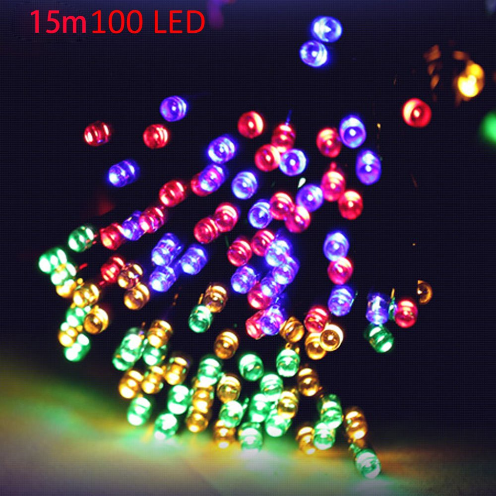 Camping christmas tree ornaments - Christmas Tree Decors 15m 100 Leds Solar String Garlands Lamps Power Camp Fairy Light Xmas Ornament New Year Decoration Headlamp