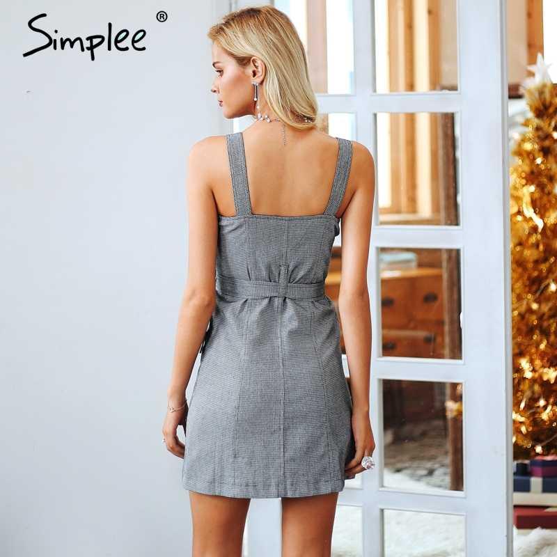 Женское осенне-зимнее платье Simplee, клетчатое короткое платье с поясом, сексуальное мини-платье с V-образным вырезом и карманами, короткое платье с поясом, на молнии