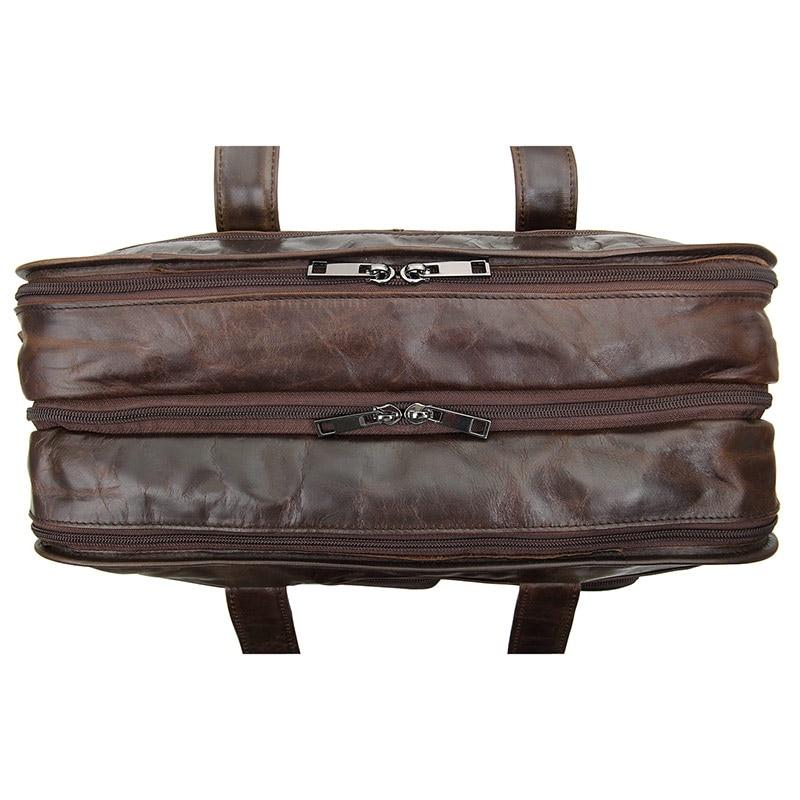 Multifunktions Männer Aktentasche Laptop Schwarzes Taschen 14 Retro Messenger tasche Rindleder Handtasche brown Bag Schultertasche Zoll Leder Echtes Business wxwP6