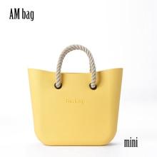 AMbag Obag O حقيبة نمط مقاوم للماء صغير مع أسود أبيض إدراج بطانة جيب داخلي قصير حبل مقبض لتقوم بها بنفسك حقيبة يد