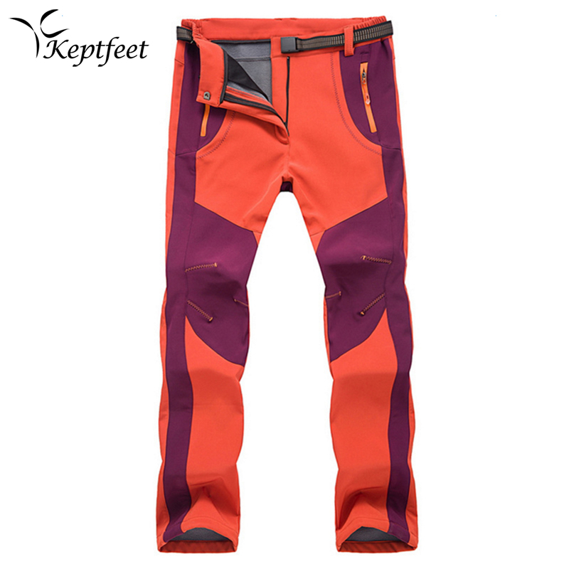 2017 New Winter Men Women Hiking Pants Outdoor Softshell Trousers Waterproof Windproof Thermal for Camping Skiing Climbing