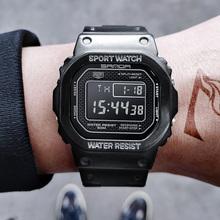 Nowy SANDA męski zegarek cyfrowy gorący LED Alarm zegarki sportowe mężczyźni ze stali nierdzewnej ze stali nierdzewnej 50 M wodoodporny mężczyzna zegar Relogio Masculino tanie tanio Cyfrowe Zegarki Na Rękę 26 5cm Plac Kompletna kalendarz Odporny na wstrząsy Wyświetlacz tydzień Odporne na wodę Podświetlenie