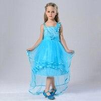 Mới Đến Mùa Hè Sequin Dresses Trẻ Em Sky Blue Tulle Turquoise Flowers Halter Little Girls Evening Gowns Cao Front Low Lại