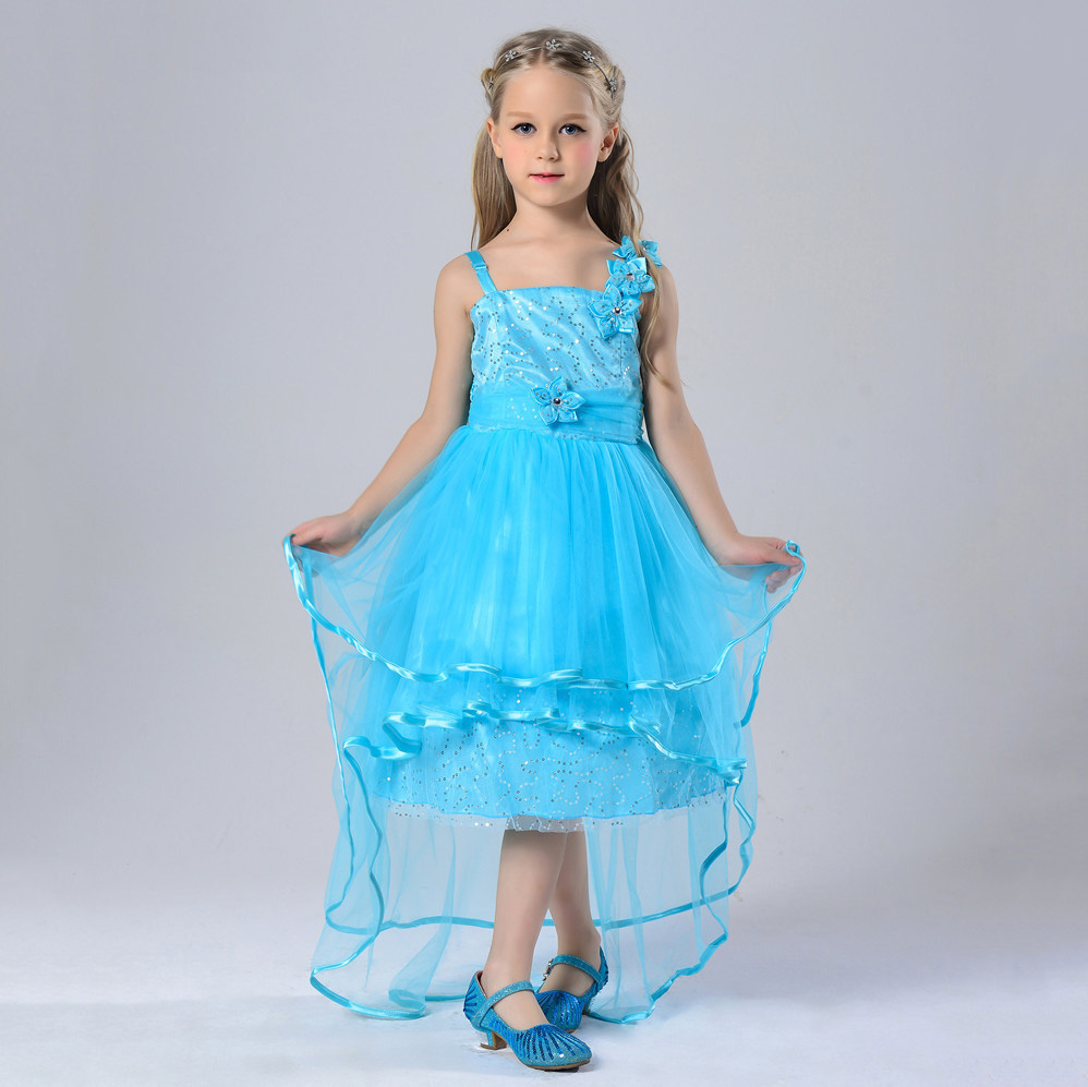 New Arrival Summer Sequin Dresses Kids Sky Blue Tulle Turquoise Flowers Halter Little Girls Evening Gowns High Front Low Back вечернее платье backless evening dresses sequin elie saab z2013122702