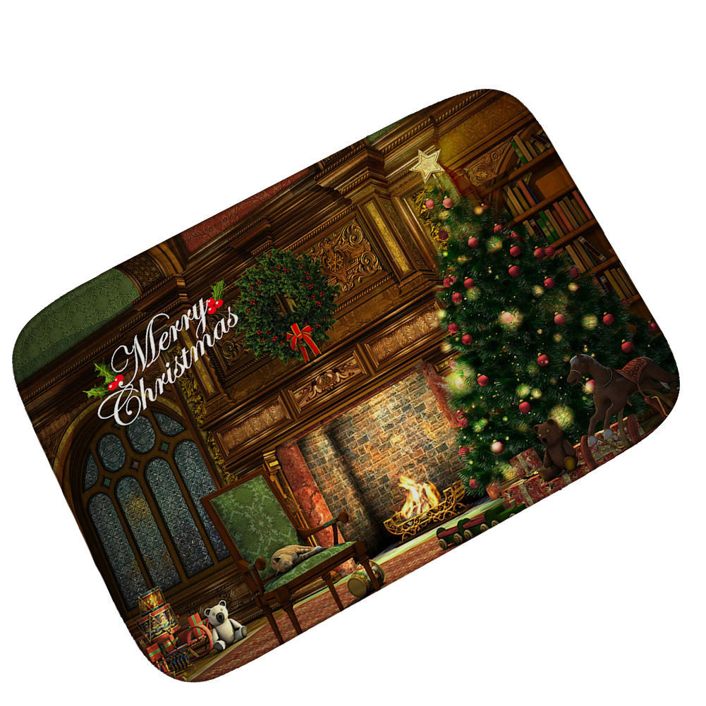 Classical Soft Floor Flannel Doormat for Entrance Door Outdoor Mat for Front Door Christmas Tree New Year Holiday Decoration