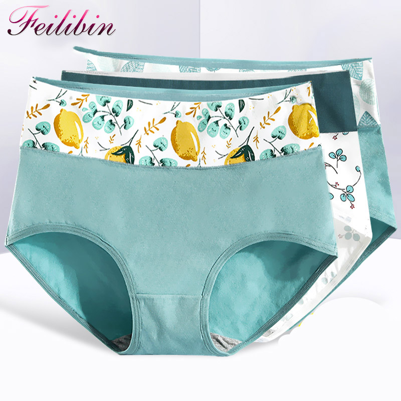Feilibin 5Pcs/lot New Panties Women Cotton High Waist Sexy Briefs Soft Underwear Cute Printed Seamless Lingerie Plus Size XXL