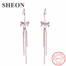 SHEON 100% 925 Sterling Silver Cute Bowknot Long Tassel Temperament Drop Earrings For Women Authentic Jewelry
