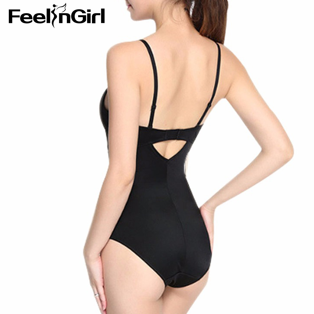4e865a1e2ecc5 FeelinGirl Women Full Body Shaper Backless Thong Seamless Push up Slimming  Bodysuit Deep U Plunge Sexy Invisible Shaperwear 261C-in Bodysuits from  Underwear ...