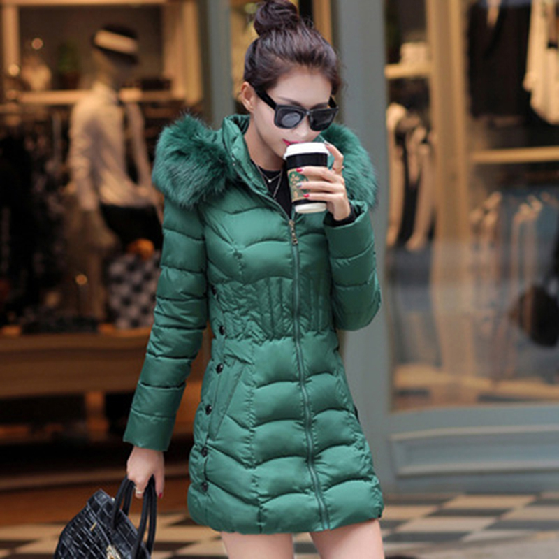 2018 Fur Hooded Women Winter Down Jacket Cotton font b Slim b font Overcoat Elegant Casual