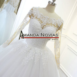 Image 2 - 2018 Newest Lace Ball Gown Wedding Dress nude color skin lace sleeve Backless Bridal Gown
