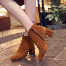2016 Spring/Autumn Ankle Boots For Women Medium Heel Genuine Nubuck Leather Women's Ankle Boot Fashion Short Martin Shoes F001