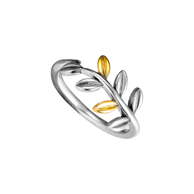 818e75432 925 Sterling Silver Jewelry Leaves Rings with 14K Gold Plated Free Shipping
