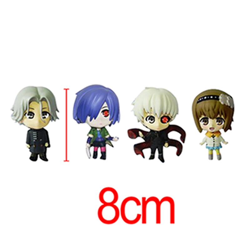 Q Version Anime Tokyo Ghoul Kaneki Ken Touka Kirishima  PVC Action Figures Collectible Model Toys 4pcs/set free shipping chrome finish modern wall lamp bedroom sconce with cylinder crystal lamp shade