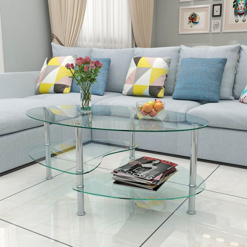 New Products Coffee Table with or Nest of Tables Clear Glass Chrome Oval Set 2 Layers HOT SALE цена