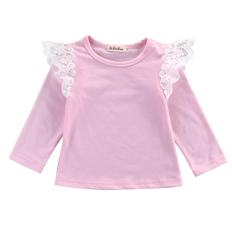 Cute Toddler Pink Top Fashion Infant Lace T-shirts Baby Girl Autumn Striped Outfit