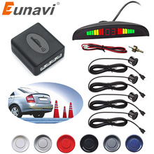 pz312 car auto parktronic parking sensor system with 4 sensors reversing car parking radar monitor detector led display Free Shipping 1Set Car LED Parking Sensor Kit Display 4 Sensors for all cars Reverse Assistance Backup Radar Monitor System