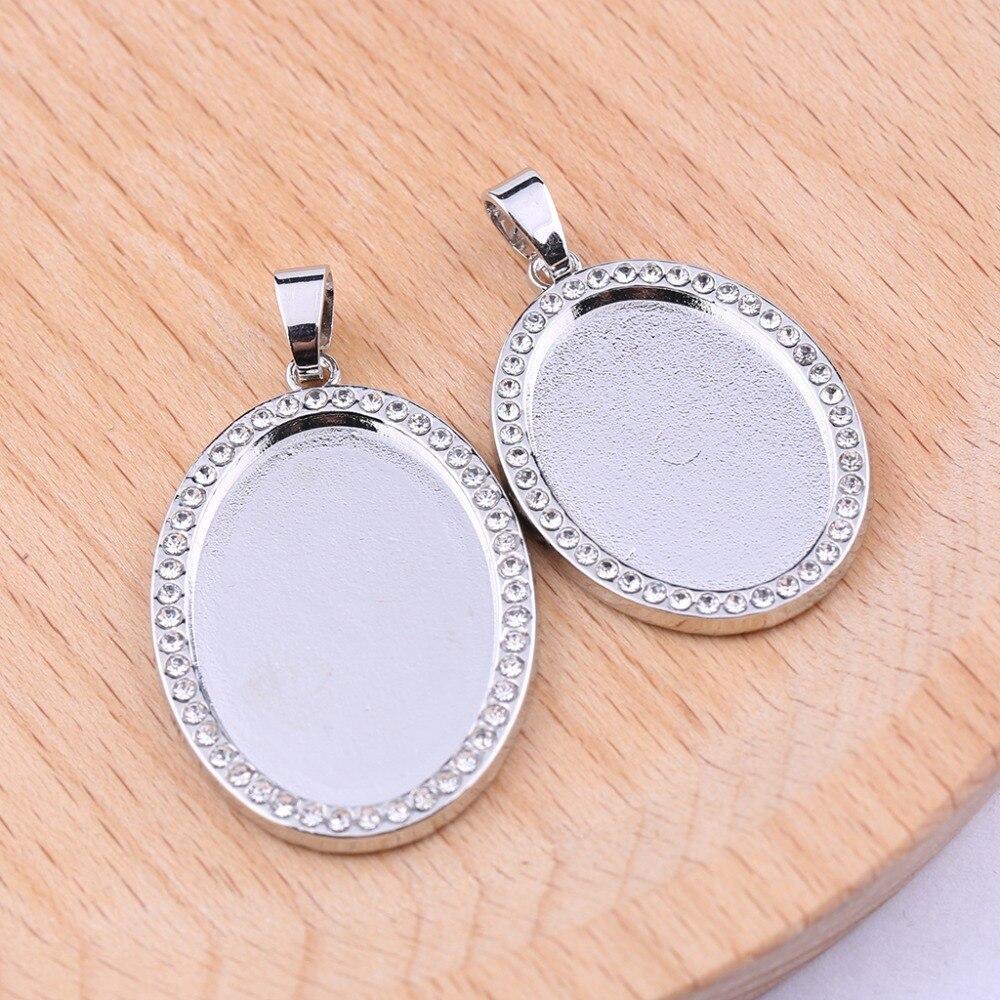 5pcs Silver//Gold Cabochon Setting Base Tray Jewelry Bezel Blank Necklace Pendant