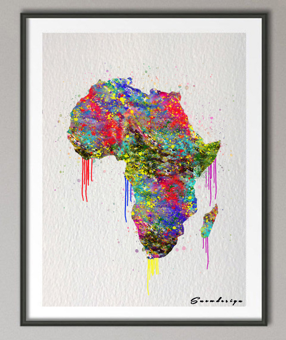 africa map canvas artwork