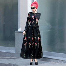 Ladies' Long Dresses Rose Print Lace Long Sleeve Big Pendulum Dress Casual Muslim Style Women Dress Summer Robe Lady Dresses
