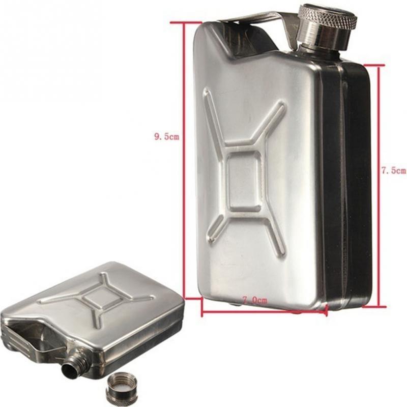 9,5x7x3 cm Tragbare Wein Dosen Edelstahlkanister Flachmann 5 unze Stahl Kraftstoff Benzin kann für Whisky Schnaps Flasche