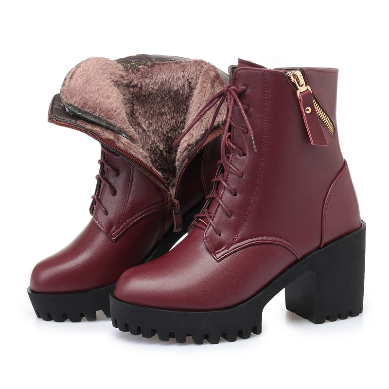 Image 5 - AIYUQI 2019 new winter women boots genuine leather high heel thick heel platform warm wool boots wedding shoes red-in Mid-Calf Boots from Shoes