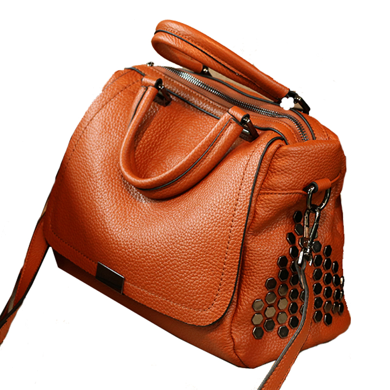 Women genuine leather bag messenger bags tote handbags  famous brands high quality shoulder bag ladies Designer Luxury boston 2018 soft genuine leather bags handbags women famous brands platband large designer handbags high quality brown office tote bag
