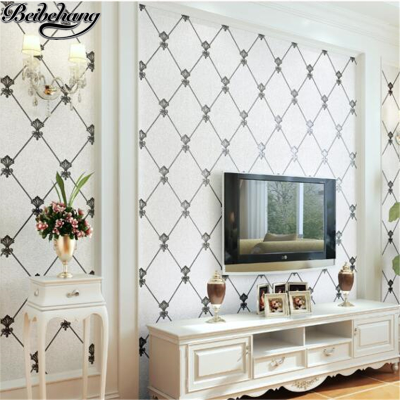 beibehang Non-woven wallpaper modern luxury diamond-shaped wallpaper bag living room restaurant bedroom TV background wallpaper beibehang european soft bag non woven wallpaper bedroom living room tv background lattice diamond shaped relief 3d wallpaper
