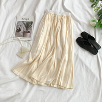 2019 new fashion women's skirts Spun silk elastic waist and long sections put on a large half length skirt summer