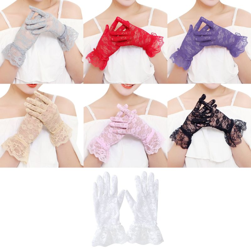 New Party Sexy Wedding Gloves Women High Quality Lace Gloves Paragraph Wedding Gloves Mittens  Full  Wedding Gloves  Lace