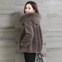 2019 Real Fur Coat Sheep Shearling Fur Coat Female Jacket Winter Jacket Women Fox Fur Collar 100% Wool Coats Abrigo Mujer MY3283