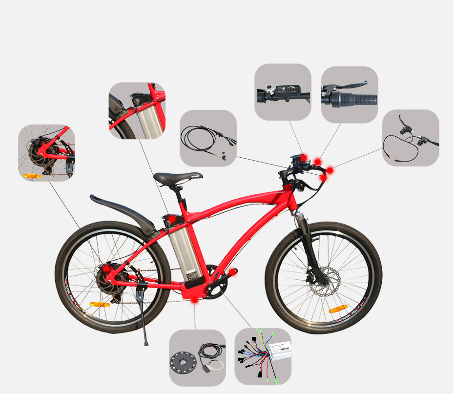 "48V 500W 26inch MTB Electric Bike 48V 12Ah Lithium Battery Mountain Aluminum Alloy 45km/h Fast Speed 26"" 2.125 Tire LCD Display"