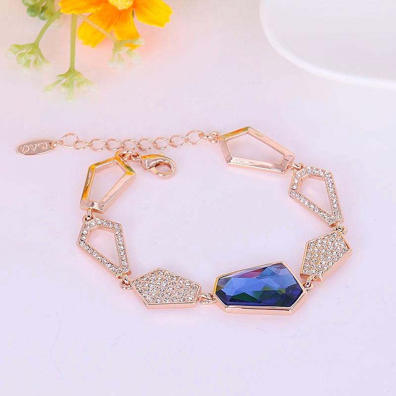 4062d5619784 B171189 lujo azul pulsera de cristal de color oro de la aleación del cinc  color de plata con Austria joyería cristalina de las mujeres de la manera