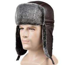 RY0202 зимняя шапка-бомбер из натуральной воловьей кожи с искусственным мехом для мужчин, мужская шапка для холодной улицы с ушками, теплая шапка для езды на мотоцикле, русские шапки
