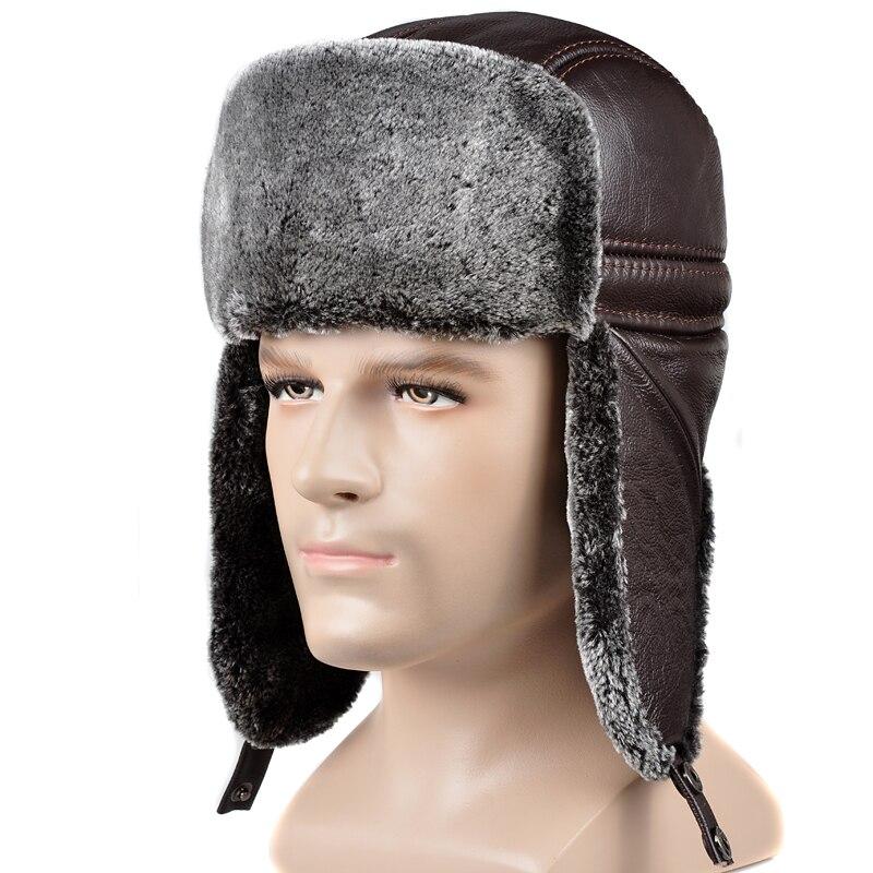 RY0202 зимние сапоги из натуральной кожи с искусственным мехом, шапка-ушанка для мужчина Холодная Теплая шапка-ушанка-кепки теплые езды Motocycling ...