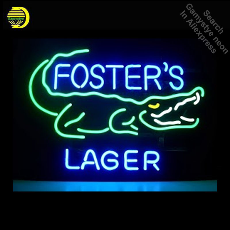 Neon Sign for Fosters Lager Croc Bee Neon Bulb sign handcraft neon signboard boat icons luces neon wall lights anuncio luminos image