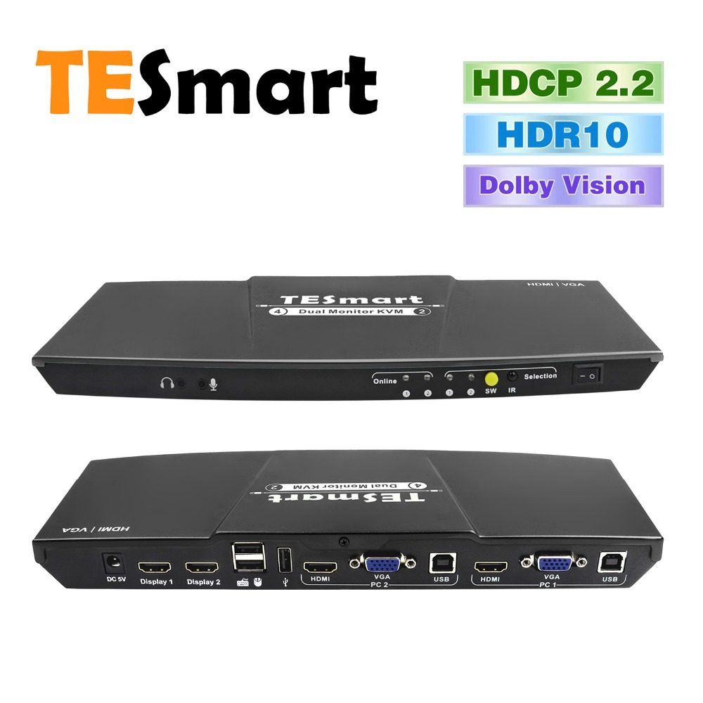 Tesmart 2 Port Output HDMI + VGA 4x2 HDMI Dual Monitor KVM Switch Support USB 2.0 Ports  Keyboard And Mouse Port Etc