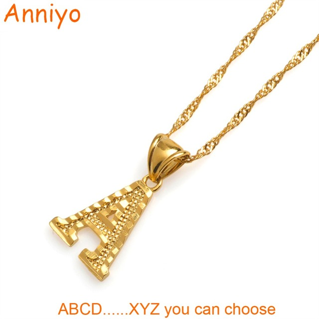 Anniyo small letters necklaces for womengirls gold color initial anniyo small letters necklaces for womengirls gold color initial pendant thin chain english letter aloadofball Image collections